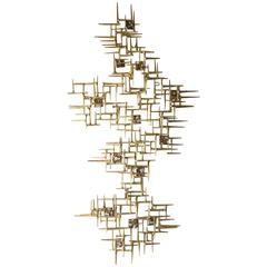 Contemporary Gilded Steel and Patinated Metal Wall Sculpture by Del Williams