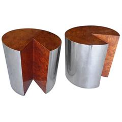 Pair of Burled Wood and Polished Steel Circular Side Tables by Pace Collection