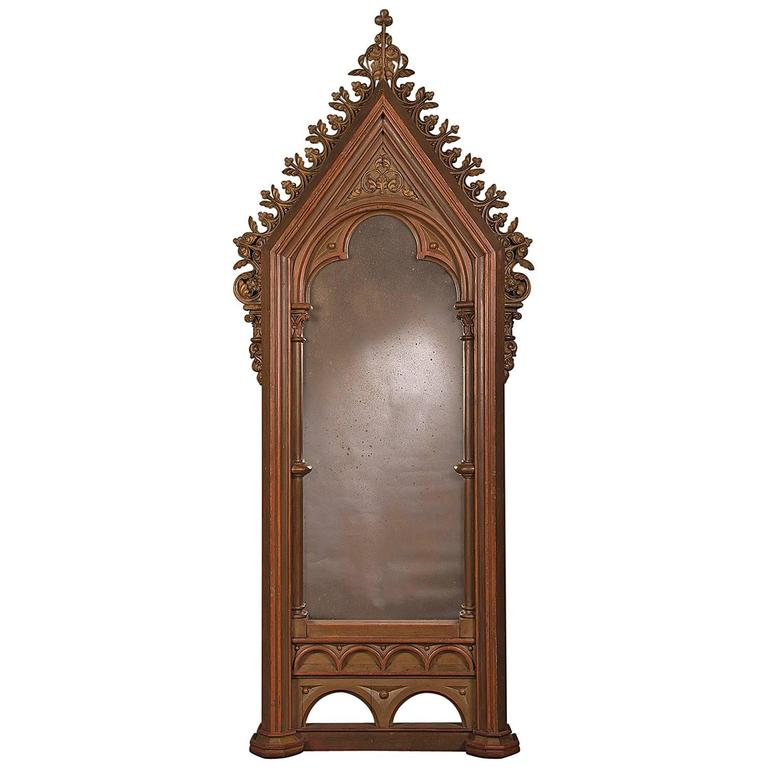 Antique German Gothic Frame, Now Enclosing an Antiqued Mirror, circa 1820  For Sale - Antique German Gothic Frame, Now Enclosing An Antiqued Mirror