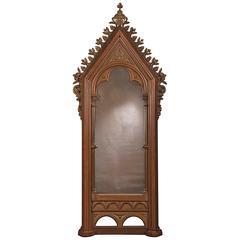 Antique German Gothic Frame, Now Enclosing an Antiqued Mirror, circa 1820