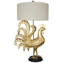 Gold Leaf Marbro Huge Rooster Table Lamp