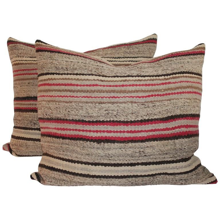 Pair of Early Navajo Weaving Saddle Blanket Pillows