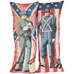 Pair of Bolseter Patriotic Pillows British and American Soldiers
