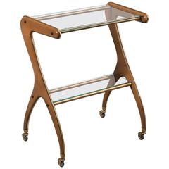 Vintage Italian Painted Metal Bar Cart, circa 1960, Original Label