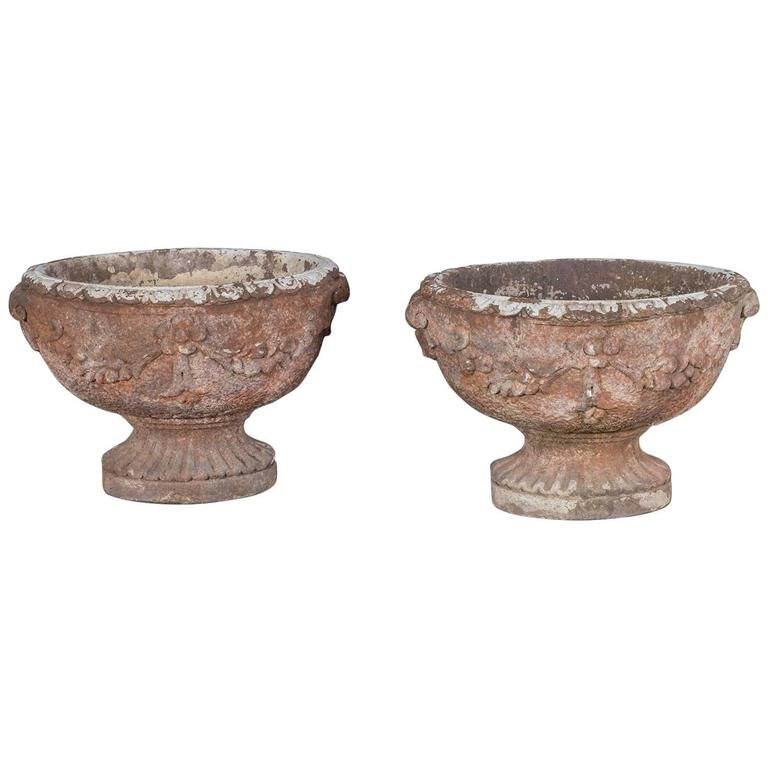 Pair Of Vintage Oval French Garden Planters Jardinières, Circa 1930 1