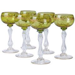 Six Saint Louis Crystal Beethoven Chartreuse Gold Encrusted Wine Hocks