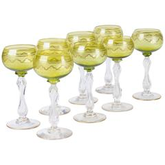 Eight Saint Louis Crystal Beethoven Chartreuse Gold Encrusted Wine Hocks