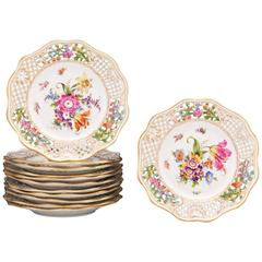 12 Dresden Floral Pierced Plates
