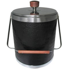 Black Faux Alligator or Crocodile Ice Bucket by Kromex, Mid-Century Modern