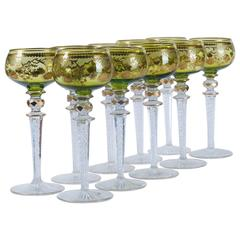 Ten Beethoven Green Saint Louis Etched Crystal Glass Wine Hocks Goblets