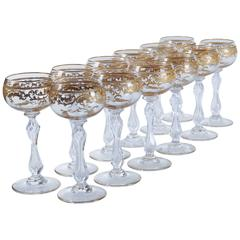 Set of 12 Saint Louis Clear Crystal Gold and Crusted Wine Hocks