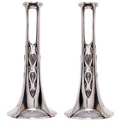Pair of Candlesticks / Bud Vases by WMF Attributed to Albin Müller