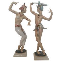 """Sword Dancer"" Figurines, Carl Werner for Hutschenreuther, Germany, circa 1955"