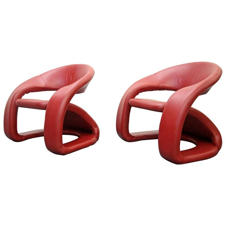 Memphis Milano Pop Art Style Modern Red Leather Cantilevered Lounge Chairs 1