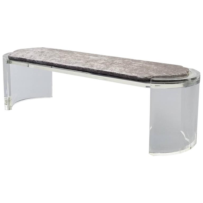 Thick Lucite Mid-Century Bench in the style of Karl Springer