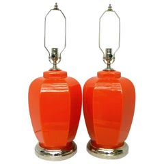 Large Orange Glass Lamps