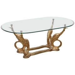 Massive Brass Coffee or Side Table with Peacocks