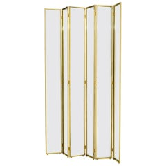 Miss Folding Screen in Gold Finish or Polished Stainless Steel Finish