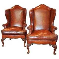 Pair of Queen Anne Style Walnut Wing-Chairs