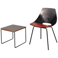 Set of Side Chair and Table by Pierre Guariche for Steiner, France, circa 1950