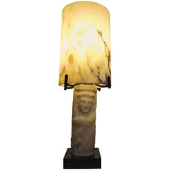 1940s Alabaster and Marble Mounted Lamp