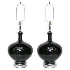 Large Black Porcelain Lamps