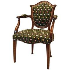 Hepplewhite Style Mahogany Open Armchair Covered in Silk Brocade