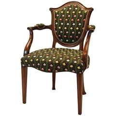 Hepplewhite Style Mahogany Open Armchair Covered in Silk Brocade