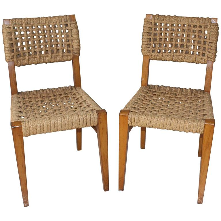 Pair of Vintage French Rope Side Chairs 1