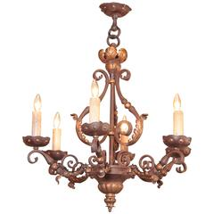 19th Century, French Louis XV Verdigris and Gilt Iron Six-Light Chandelier