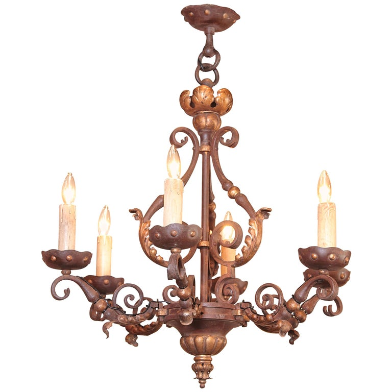 19th Century, French Louis XV Verdigris and Gilt Six-Light Iron Chandelier For Sale