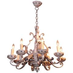 Late 19th Century French Painted and Gilt Eight-Light Wrought Iron Chandelier