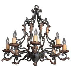 Early 20th Century French Eight-Light Round Chandelier with Verdigris Finish