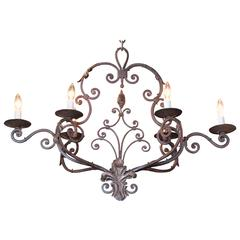 Early 20th Century French Verdigris Iron Six-Light Chandelier with Fleur-de-Lys