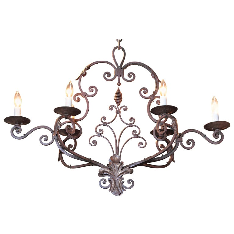 Early 20th Century French Verdigris Six-Light Iron Chandelier with Fleur-de-Lys For Sale