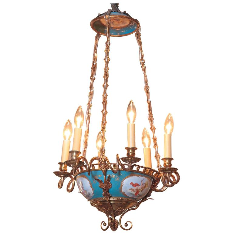 19th Century French Six-Light Hand-Painted Porcelain and Brass Sevres Chandelier
