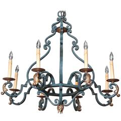 Mid-20th Century French Iron Eight-Light Chandelier with Verdigris Finish