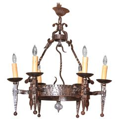 Early 20th Century French Polished Iron Six-Light Chandelier with Fleur-de-Lys