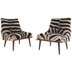 Pair of Adrian Pearsall Style Lounge Chairs Restored in Zebra Hide