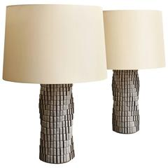 Bill Hudnut Pair of Spiral 16 Cube Lamps