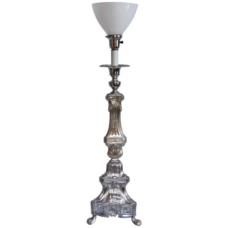 19th Century Silver Plate Altar Candle Stick Wired as Lamp