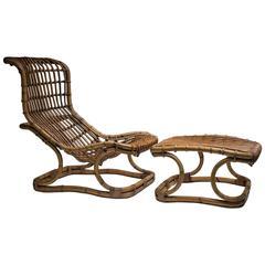 Tito Agnoli Lounge Chair with Ottoman for Bonacina