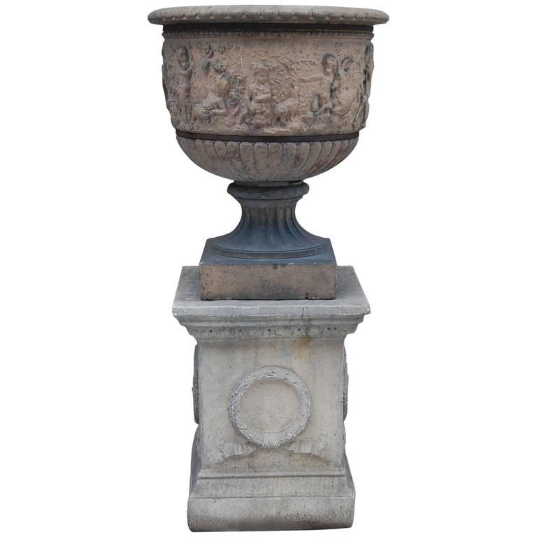 Large 19th Century Terracotta Urn on Modern Cement Plinth For Sale
