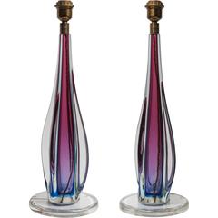 Zanetti Vintage Table Lamps, Sommerso Glass