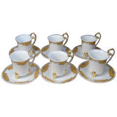 Set of Six Fine Porcelain Demitasse Service Cups and Saucers Gold Leaf