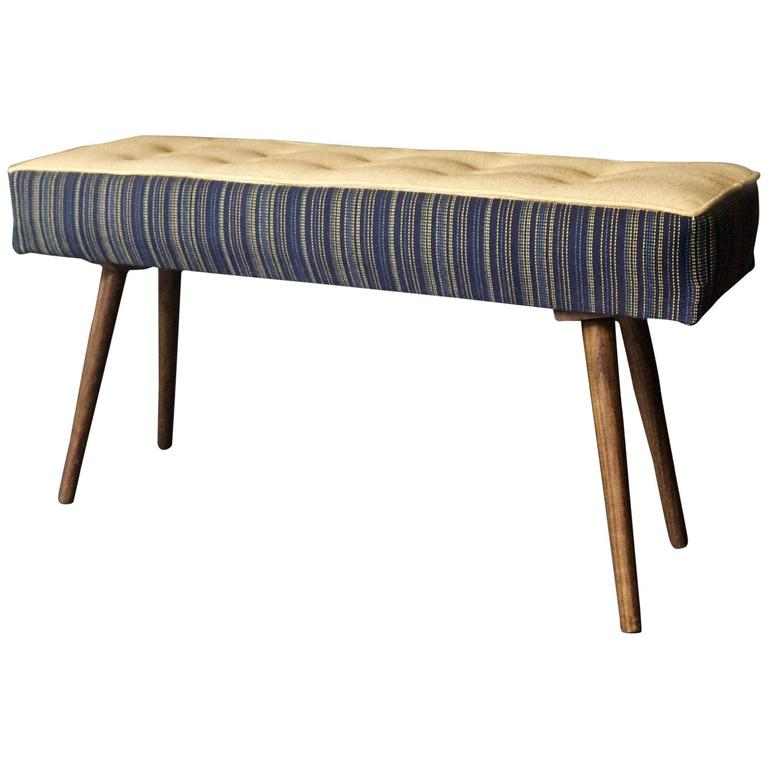 Studio Series Mini Bench Navy Pinstripe With Beeswax Seat In Stock For At 1stdibs