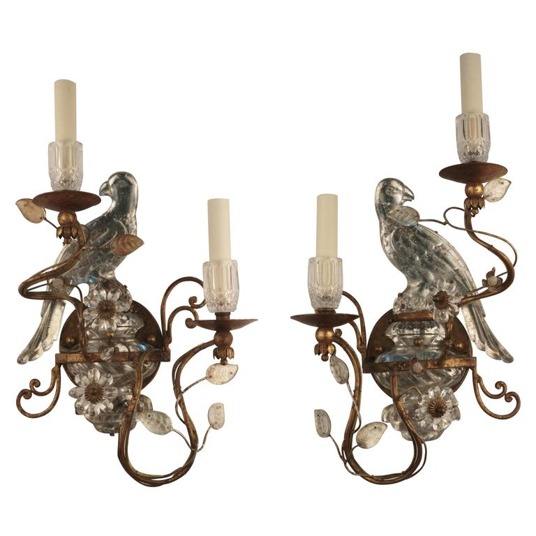Pair of Bagues Style Parrot Wall Sconces