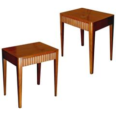 Pair of Tailored Nightstands or End Tables in Mahogany by G. A. Berg