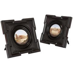 Pair of Circular Italian Micromosaic Plaques in Wooden Frames