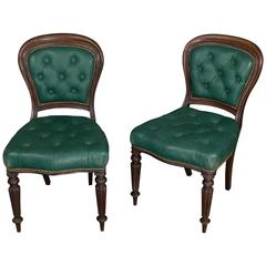 Pair of William IV Tufted Leather Side Chairs